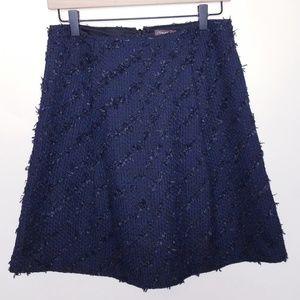 J.McLaughlin Navy Black Tweed Fit n Flare Skirt